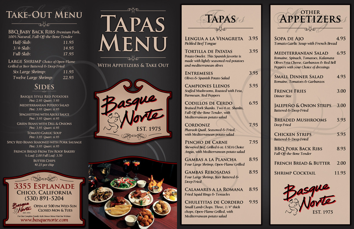 Basque Norte Restaurant & Marinade - Menu